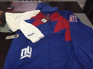 MENS NEW YORK GIANTS Mitchell Ness Shark Tooth Full-Zip Jacket Blue/RED 2XL NWT