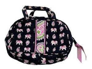 Vera Bradley pink elephants cosmetic makeup case small travel pouch zippered