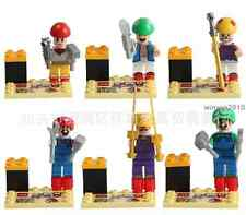 6pcs Super Mario Action Figures Minifigures Bricks Blocks toys New Version