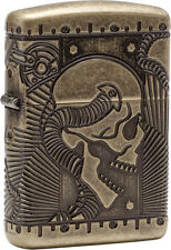 "ZIPPO ""SKULL"" ANTIQUE BRASS ARMOR CASE MULTICUT DEEP CARVED LIGHTER *NEW in BOX*"