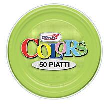 PIATTI PICCOLI FRUTTA DOPLA PLASTICA MONOUSO VERDE LIME 50 PZ. PARTY TINTA UNITA