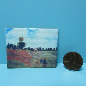 Dollhouse Miniature Canvas Painting Picture Monet Field of Poppies G7956