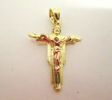 10k Yellow and Rose Gold Cross Charm Pendant