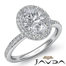 2 ct Oval Diamond Vintage Engagement Halo Classic Ring H VS2 14k White Gold GIA