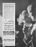 1960 Alitalia PRINT AD Airlines features: romantic couple jet