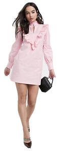 Ladies Pink Ruffle Bib Poplin Dress By River Island Size 10 S