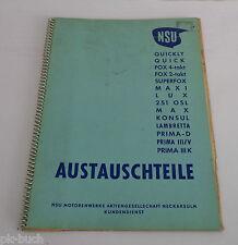 Teilekatalog Teileliste NSU Fox 4-Takt Lux Max Quickly Maxi Quick Konsul...1961