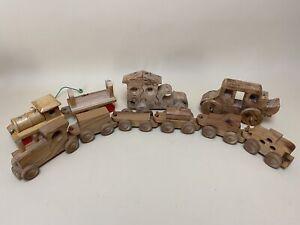 Vintage! HUGE Lot Of 10 Wooden Toys Trains Cars Trucks Vehicles