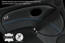 BLUE STITCH 2X REAR DOOR CARD TRIM LEATHER COVERS FITS ROVER 75 & MG ZT 99-05