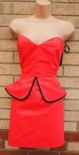 PRIMARK PEACHY PINK BLACK TRIM PEPLUM TUBE BODYCON PENCIL PARTY TEA DRESS 8 S