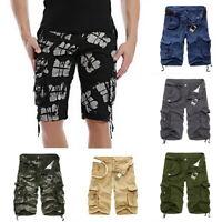 Summer 3//4 Long Length Shorts Kings Elasticated Waist Cotton Cargo Combat Mens u