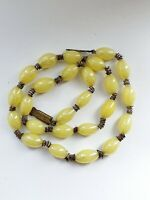 Art Deco Yellow Glass Graduated Bead Necklace