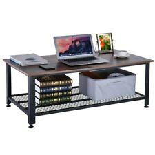 2-Tier Wood Cocktail Coffee Table Living Room w/Metal Mesh Shelf Furniture
