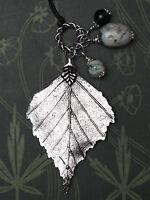 Birch Leaf Charm Pendant with Gemstone Beads- Pagan, Wicca, Witchcraft, Ogham