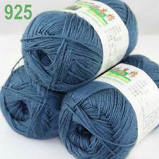 3 balls×50g Super Soft Natural Smooth Bamboo Cotton Yarn Knitting Steel Blue 925
