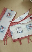 NEXT  RED&WHITE GINGHAM  ANIMALS NURSERY SET WITH BLACKOUT CURTAINS & THROW