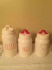 Rae Dunn Canisters KISSES HUGS And HEART SHAPE New Set of 3