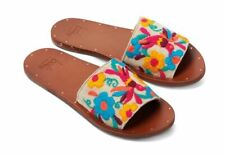 Anthropologie Beek Womens 7 Floral Embroidered Lovebird Slide Flat Sandals NWT