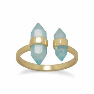 Gold Plated Blue Chalcedony Split Ring 925 Sterling Silver