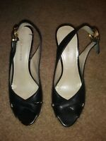 ANNE KLEIN BLACK LEATHER SLINGBACK PEEP TOE WOMEN'S SHOE  SIZE 7 M (US)