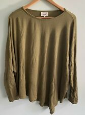 SEED heritage ladies L large long sleeve stretch womens khaki top