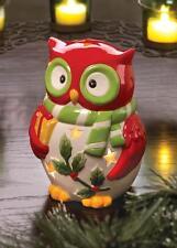 CHRISTMAS DECOR HOLIDAY CERAMIC HOOT OWL CANDLE HOLDER LANTERN CANDLELIGHT NEW