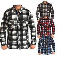 Mens New Brushed Fleece Thermal Check Casual Lumberjack Shirt Warm Work Top