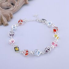 Fashion 925Sterling Solid Silver Jewelry Colorful Crystal Box Bracelet For Women
