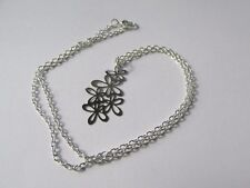 Silver Flower Cluster Pendant Chain Necklace - Handmade Gift in UK - Boxed