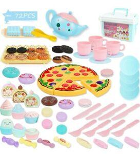 Kids Tea Time Set Cake Play Food Tea Pot Role Pretend Play Party Toy, 74 Pieces