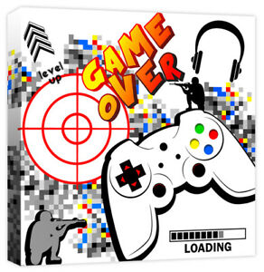Computer Controller Game Over Quote Boys Gaming Canvas Wall Art Print Picture