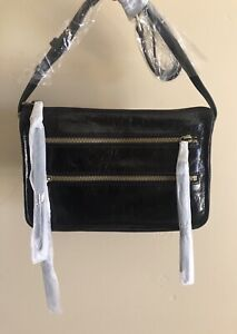 Nwt Women's Hobo International Leather Crossbody Bag Purse, Mission, Black