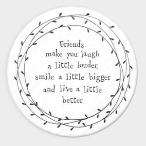 East of India Leaf Coaster Friends Make You Laugh Sentimental Keepsake Gift