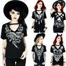 Women's Girl Punk Blouse Gothic Summer Short Sleeve V-Neck Tops T-shirts CO