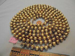 "Christmas Garland Mercury Glass Antique Gold 103"" Long 7/16"" Beads AP14 Vintage"