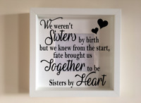 IKEA RIBBA Box Frame Personalised Vinyl Wall Art Quote Sisters by heart