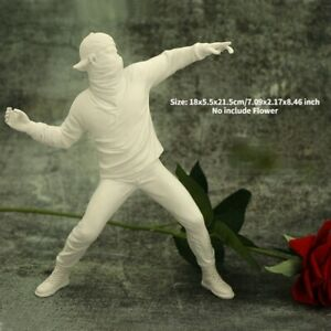 Sculpture Banksy Flower Bomber Thrower Resin Figurine Statue Ornament Collectibl