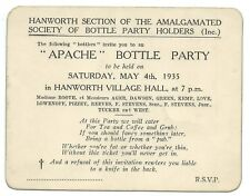 HANWORTH 1935 Invitation to APACHE BOTTLE PARTY Feltham Middlesex Social History