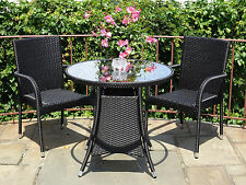 Patio Resin Outdoor 3 Pc Wicker Set 2 Arm Chairs and Round Dining Table. Black