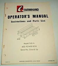 Farmhand F45 A 450 Power Box Operators Parts Manual Catalog Original 971