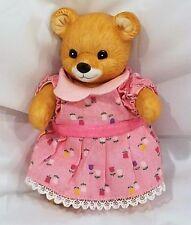 "Homco Teddy Bear Figurine Ceramic Girl Jointed Pink Dress 4"" Tall Figure"