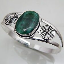 Shining Faceted Emerald 925 Starling Silver Handmade Jewelry Lovely Bangle 24 Gm