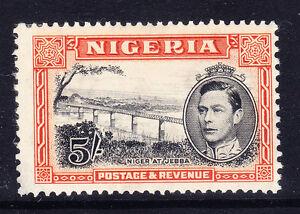 NIGERIA 1938/51 5/- black & orange P13x111/2 little off-centre m/m SG59 Cat £110
