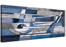 Indigo Blue Pittura BIANCO SALOTTO A Muro Art-Astratto 1404 - 120 cm
