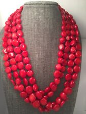 Lucas Lameth LUC 925 Sterling Silver 4 Strand Red Coral Button Beads Necklace