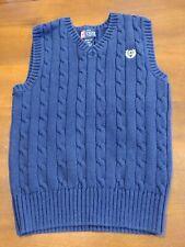 Chaps Boys Cable Sweater Vest Size M 10-12 All Cotton Navy Blue