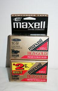 NEW VTG MAXELL Camcorder VHS Videocasette Tape HGX-GOLD TC-30 Premium Lot of 2