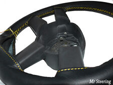 BLACK LEATHER STEERING WHEEL COVER FOR JEEP CHEROKEE KJ YELLOW STITCHING 01-07