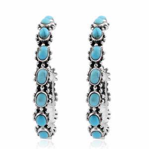 Elegant 925 Sterling Silver Turquoise Hoops Hoop Earring Pairs Southwest Jewelry
