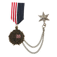 Mens Steampunk Star Tassel Chain Brooch Pin Medal Badge Brooch Dress Costume